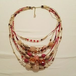 Chico's Pink Beaded Long Necklace